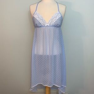 Sheer blue nightie with white lace & polka dots
